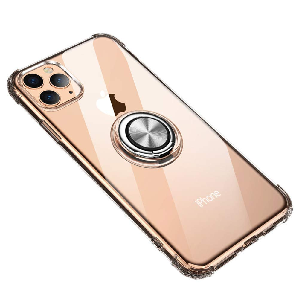 Case for iPhone 11 Pro Max Crystal Clear,Lozeguyc iPhone 11 Pro Max Slim Stylish Silicone Kickstand Cover with Magnetic Car Mount Plate Shockproof Armor Case for iPhone 11 Pro Max 6.5 Inch-Clear