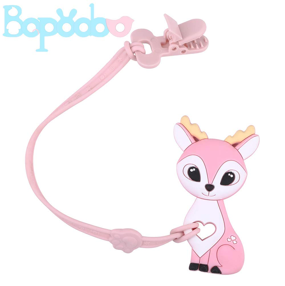 bopoobo Baby Silicone Pacifier Clip with Teether Toys Deer Shape BPA Free Teething Pendant Safe Plastic Clip Binky Holder Set for Infants and Toddlers