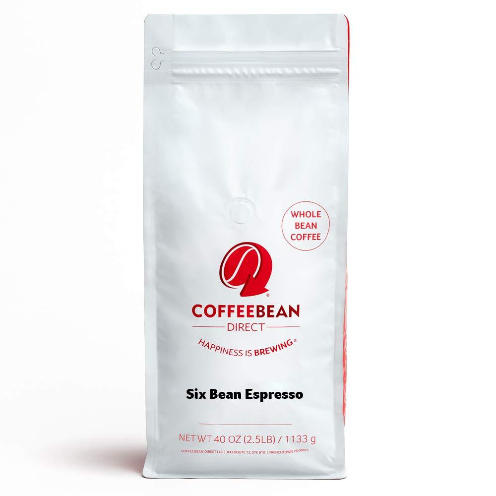 Coffee Bean Direct Six Bean Espresso, Whole Bean Coffee, 2.5-Pound Bag
