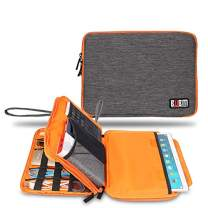 """Three Layer Electronics Organizer and Travel Organizer for Tablet, Cables, Flush Drives, and Chargers. Size XL, fit for 11"""" iPad Pro (Grey and Bright Orange)"""