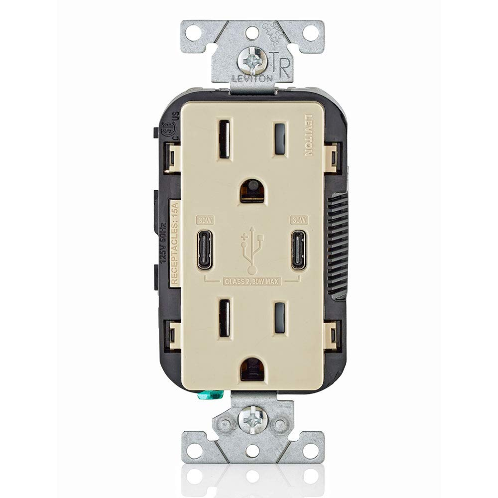 Leviton T5635-I USB Dual Type-C with Power Delivery (PD) In-Wall Charger with 15 Amp, 125 Volt Tamper-Resistant Outlet, Ivory with Screwless Wallplates, 2-Pack