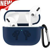 Silicone Case Cover for Airpods Pro, Portable Carrying Silicone case, Full Body Protection case with Carabiner, Anti-Lost & Shockproof case Cover for Airpods Pro (Blue)