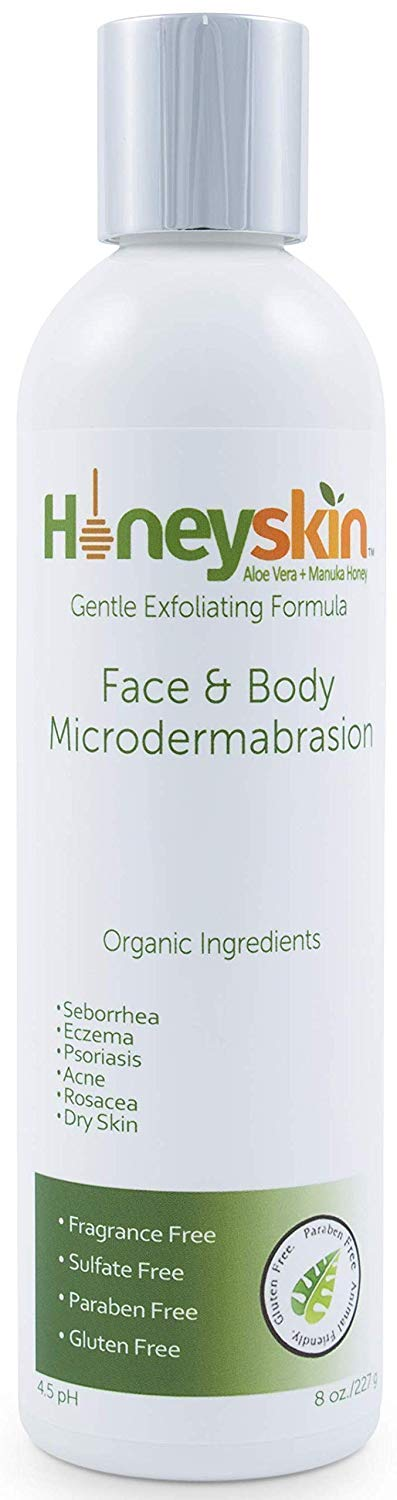 Face and Body Microdermabrasion Scrub - Natural & Organic Face Exfoliator with Manuka Honey & Aloe Vera for Dry & Sensitive Skin - Anti Aging Nourishing Facial Scrub and Deep Pore Cleanser (8 oz)