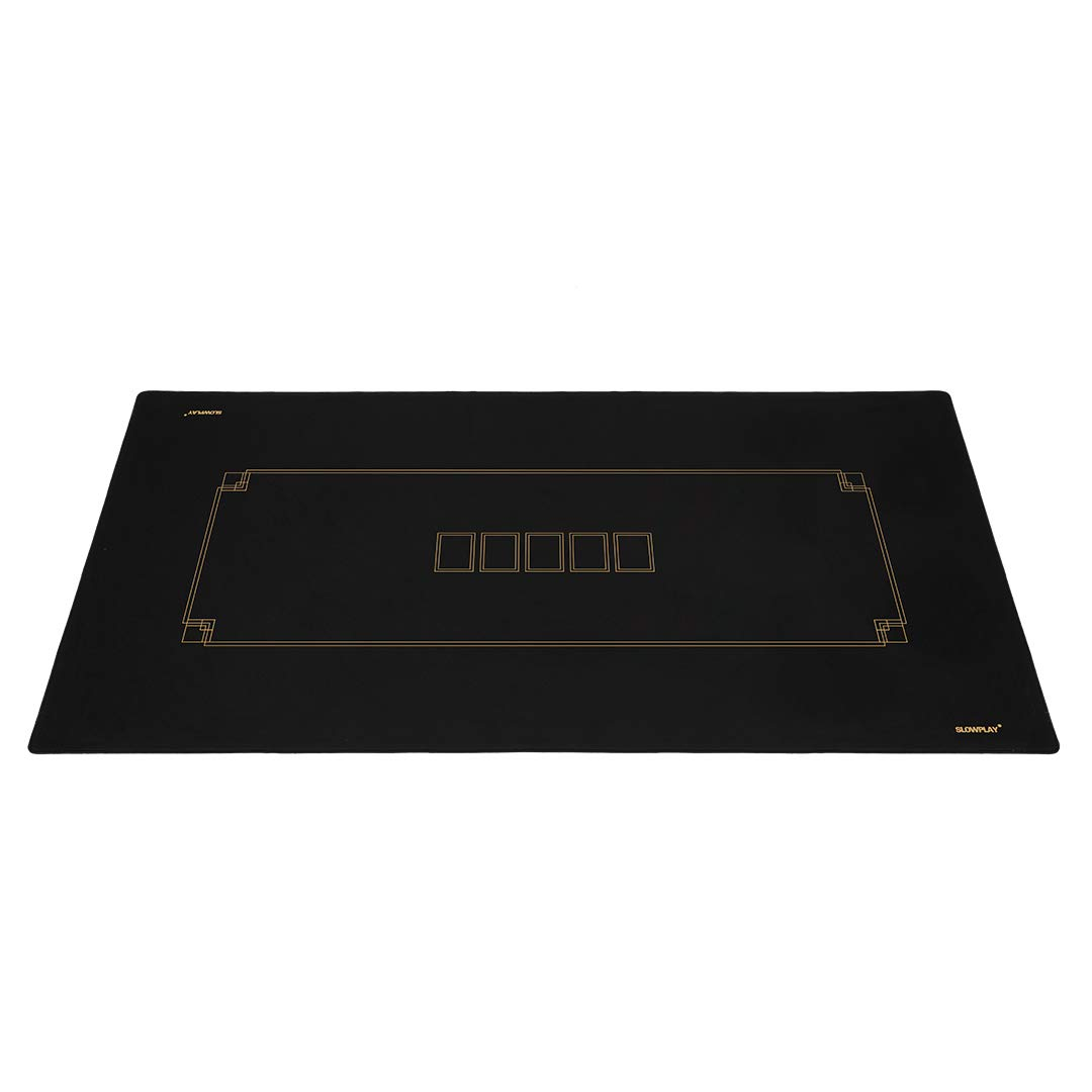 SLOWPLAY Godel Texas Hold'em Poker Mat   Portable Poker Table Top, Black and Champagne Gold, 70 x 35 Inch, Water Repellent, Noise Reduction, and Carrying Tube for Games Everywhere