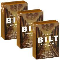 """BILT Natural Bar Soap for Men 8 oz, Prohibition""""Fortify & Unwind"""" - Oak Barrel + Leather (3 Bars)"""