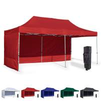 Vispronet 10x20 Instant Canopy Tent and 2 Side Walls – Commercial Grade Steel Frame with Water-Resistant Canopy Top and Sidewalls – Bonus Canopy Bag and Stake Kit Included (Red)