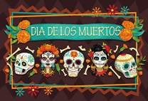 Baocicco Polyester 5x4ft Backdrop for Dia de Los Muertos Photography Background for Day of The Dead White Skulls Flowers Mexican Skeleton Bones Birthday Party Banner Portrait Mexico Fiesta Props