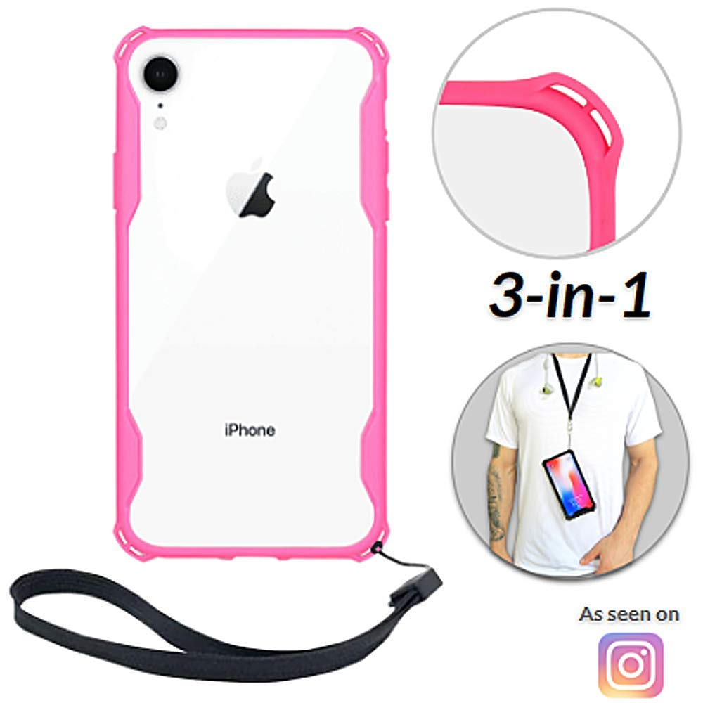 Lifestyle Designs New iPhone 7 & 8 Clear Slim Case with Wrist Strap & Lanyard | Best Rugged TPU Bumper Case | Loop Attachments for Leash, Tether etc – iPhones: Xs X Xr Xs Max X 8 7 6 6s Plus (Pink)