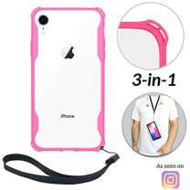 Lifestyle Designs New iPhone 7 & 8 Clear Slim Case with Wrist Strap & Lanyard   Best Rugged TPU Bumper Case   Loop Attachments for Leash, Tether etc – iPhones: Xs X Xr Xs Max X 8 7 6 6s Plus (Pink)