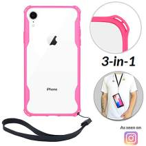 Lifestyle Designs New iPhone Clear Slim Case with Wrist Strap & Lanyard | Best Rugged TPU Bumper Case | Strong Loop Hole Attachments - Xs X Xr Xs Max X 8 7 6 6s Plus (Pink, iPhone 11 Pro)
