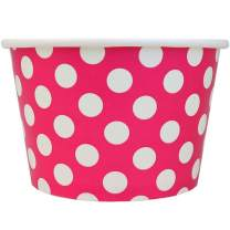 [100 Count] Valentine's Day Pink Paper Ice Cream Cups - 8 oz Polka Dotty Dessert Bowls Perfect For Yummy Treats! Frozen Dessert Supplies