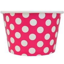 [100 Count] Valentine's Day Pink Paper Ice Cream Cups - 8 oz Polka Dotty Dessert Bowls Perfect For Yummy Treats! Frozen Dessert Supplies