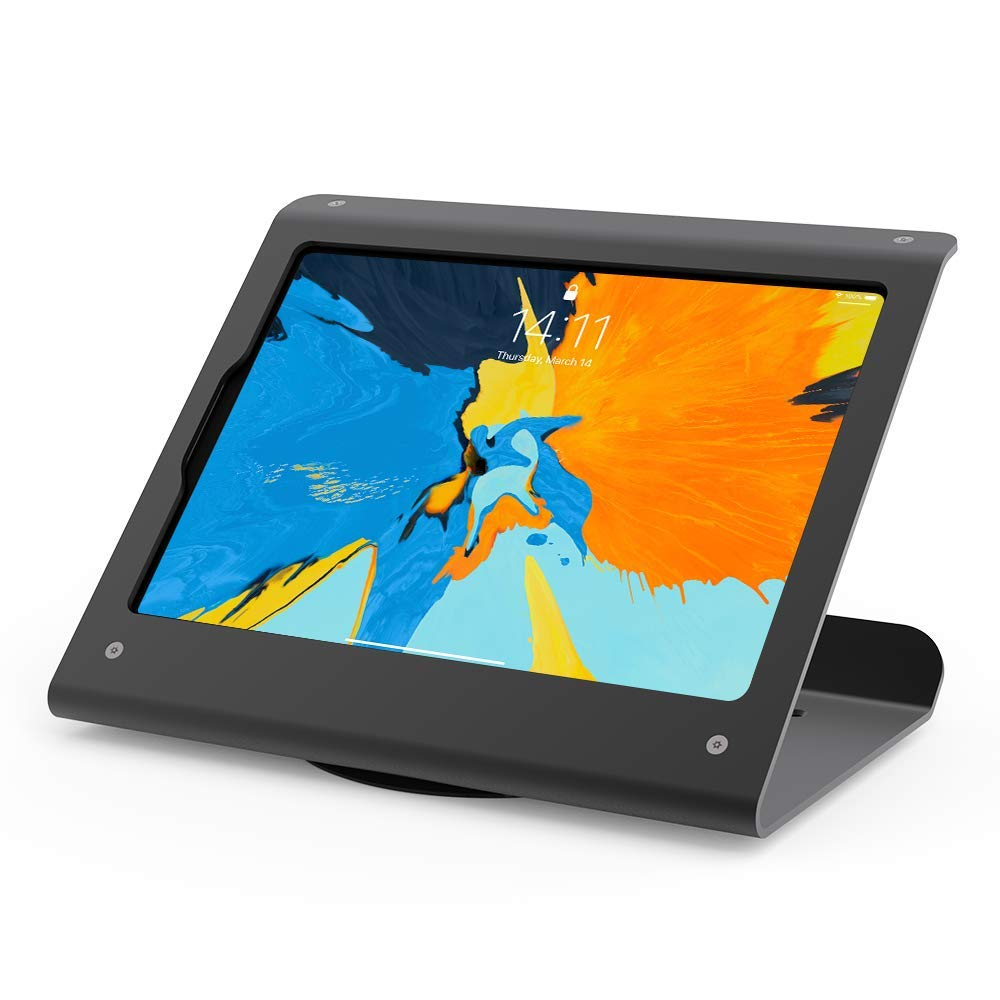 Beelta Tablet Stand for iPad Pro 11-360 Swivel Base, Anti Theft, Metal, Matt Black, BSC102BS