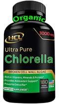 Chlorella Capsules Organic 3000 mg - Cracked Cell Wall Blue Green Algae Supplement - Best Natural Detox Cleanse - Plant Vitamins Minerals Chlorophyll Vegan Protein Powder Pills - Made in USA