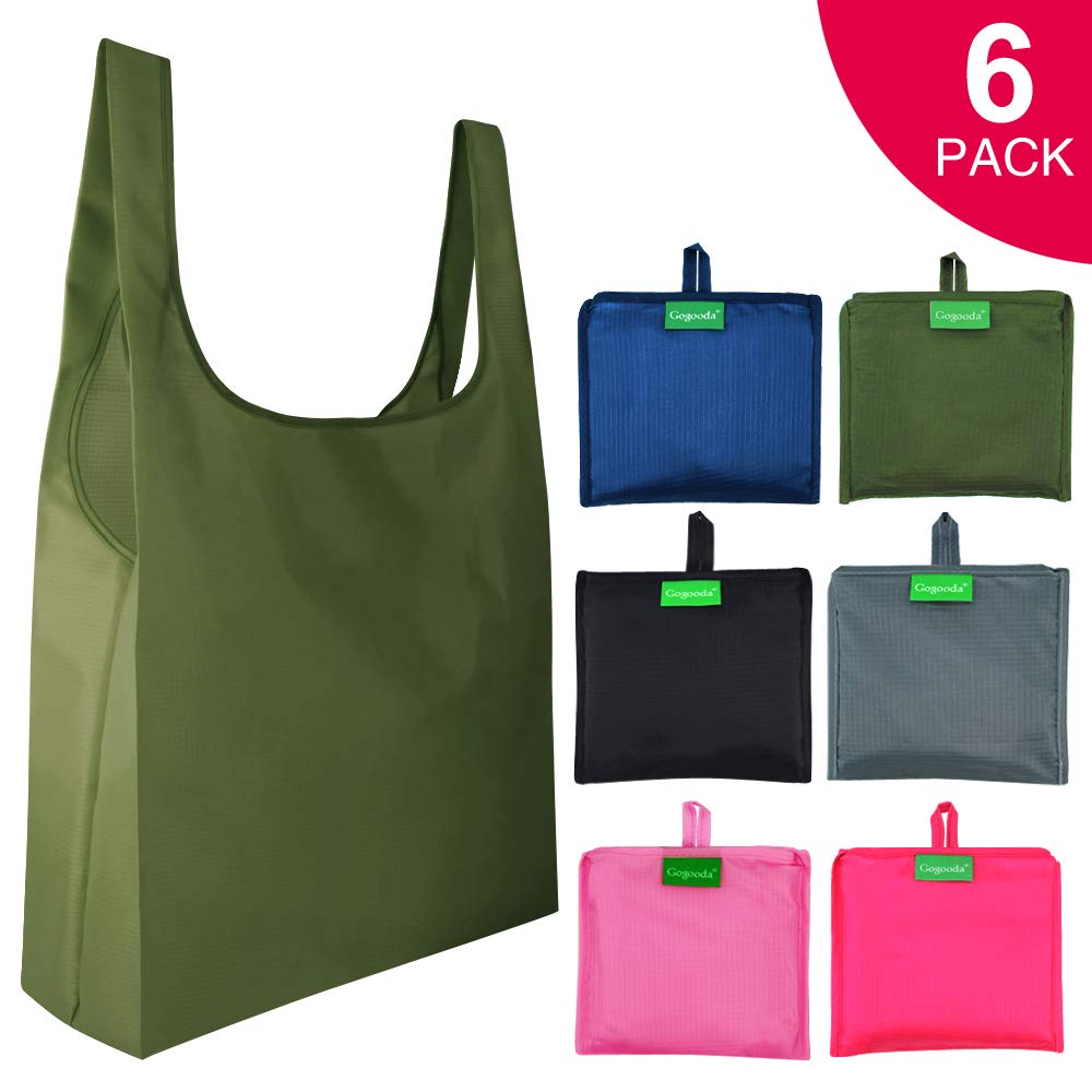 Grocery Bags Reusable Washable 6 Pack,Heavy Duty Shopping Bags Large 50LBS with Foldable, Ripstop Grocery Tote bags with Eco-Friendly Polyester Fabric (Navy Blue,Moss, Pink, Rose, Black, Gray)