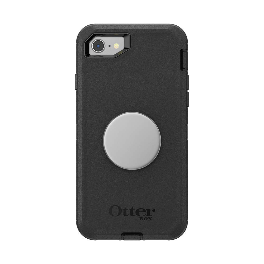Otter + Pop for iPhone SE, 7 and 8: OtterBox Defender Series Case with PopSockets Swappable PopTop - Black and Aluminum Space Grey