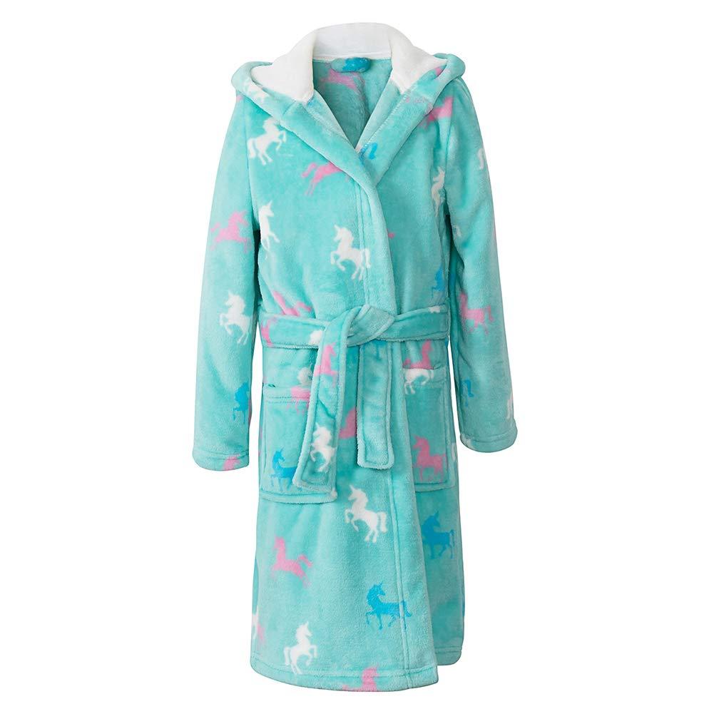 home swee Girls Fleece Bath Robes Toddler Plush Hooded Bathrobes Printed Flannel Sleepwear for Girl
