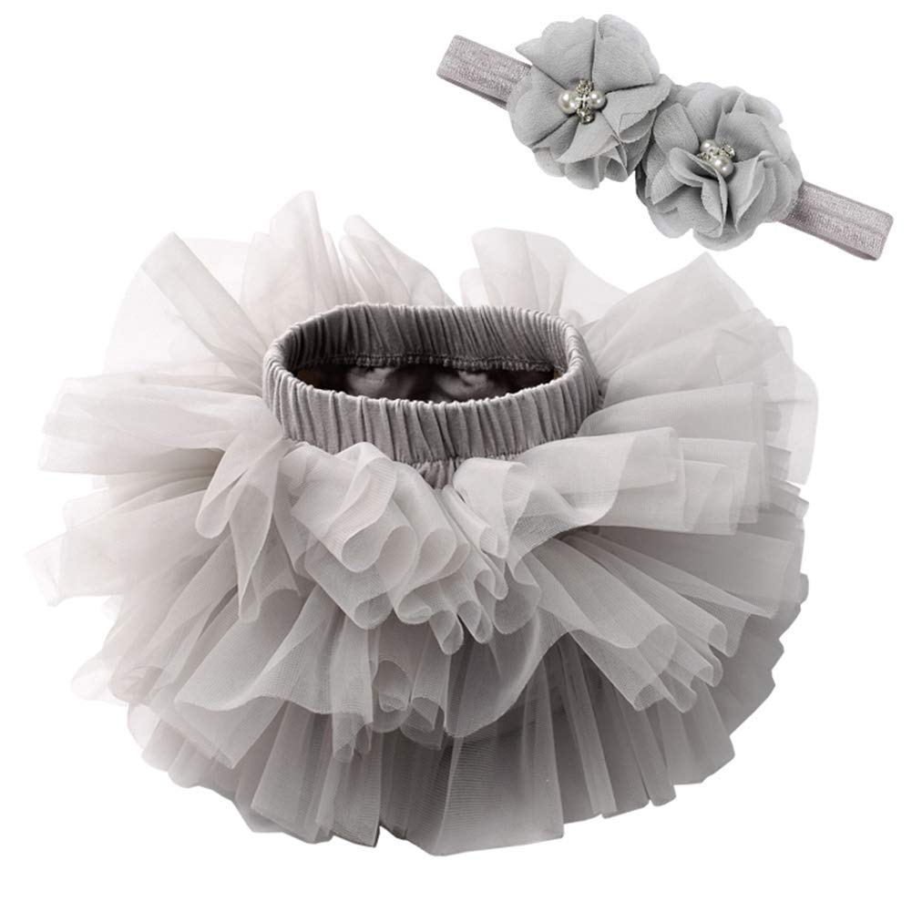 Happy Cherry Baby Girls Tulle Tutu Skirt Floral Headband Set Cotton Bloomers Diaper Covers Party Dress