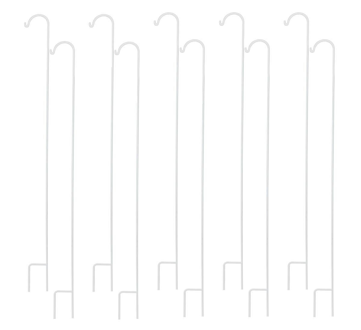 TQVAI 60 Inch Shepherd's Hooks Set of 10 - Garden Stake Hangers for Hanging Solar Lights, Bird Feeders, Mason Jars, Christmas Lights, Lanterns, Weddings, Frosted White