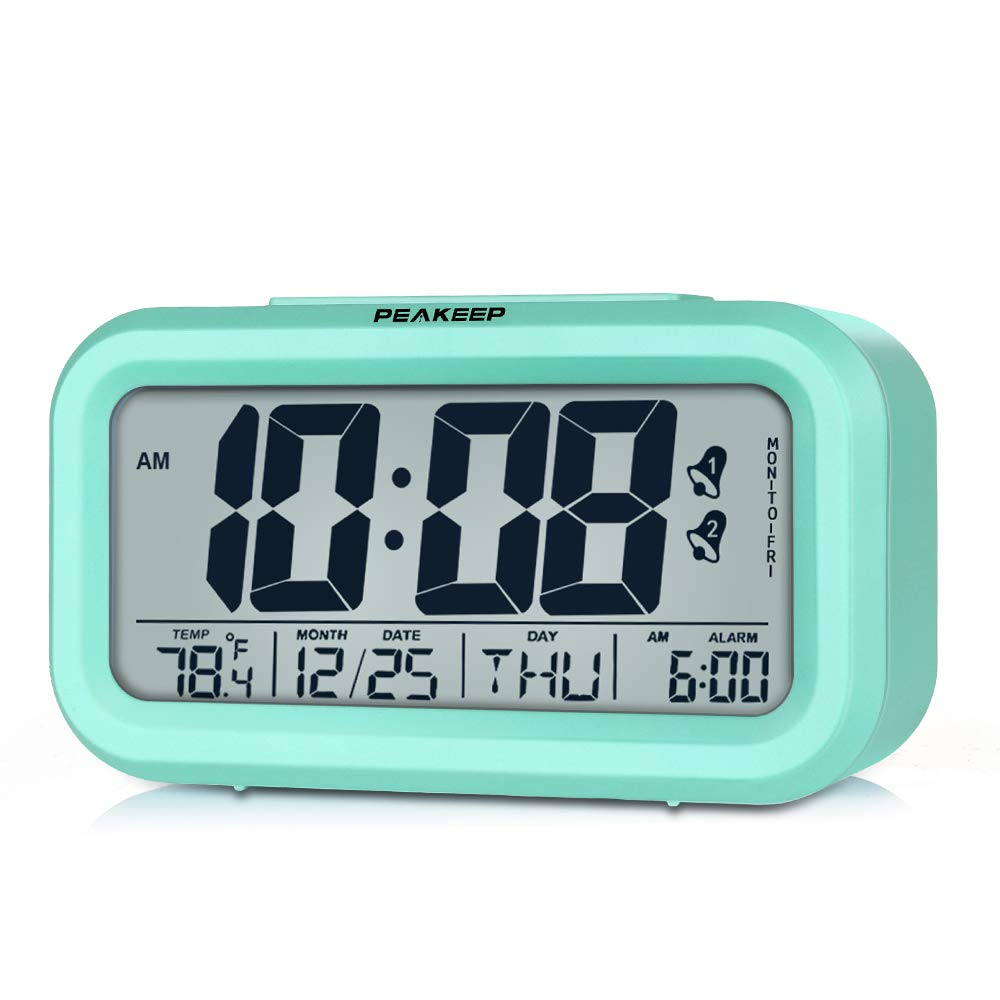 Peakeep Battery Operated Cordless Digital Clock with 2, Dual Alarm for Workday, Snooze, Smart Sensor Light, Mint Green