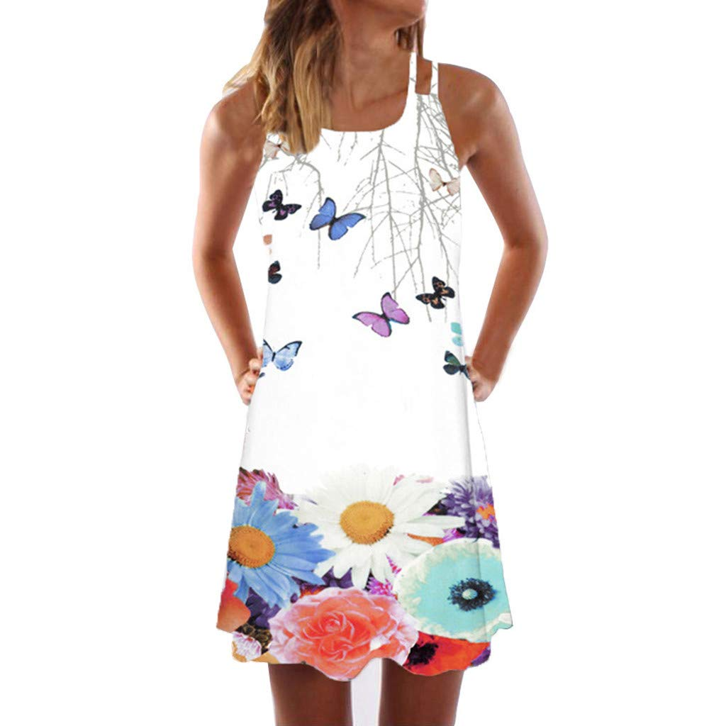 Sunhusing Womens Sling Off-Shoulder Flower Print Tank Top Dress Sleeveless Mini A-Line Beach Dress