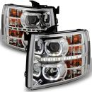For Chevy Silverado Pickup Exclusive Halo Projector Ultra Bright SMD DRL LED Headlights Front Lamps
