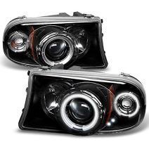 For Dakota Durango Pickup Truck Black Bezel CCFL Halo Ring Design Projector Headlights Replacement pair