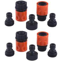 """HQMPC Plastic Garden Hose Connector Garden Quick Connectors 3/4"""" GHT Female and Male Couplers 3/4"""" Female Males Male Nipples 2sets(10PCS CONNECTORS)"""
