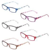 Computer Glasses - Anti-Blue Glasses - 5-Pack Blue Light Blocking Reading Glasses for Women (5 Pack Mix Color, 1.25)