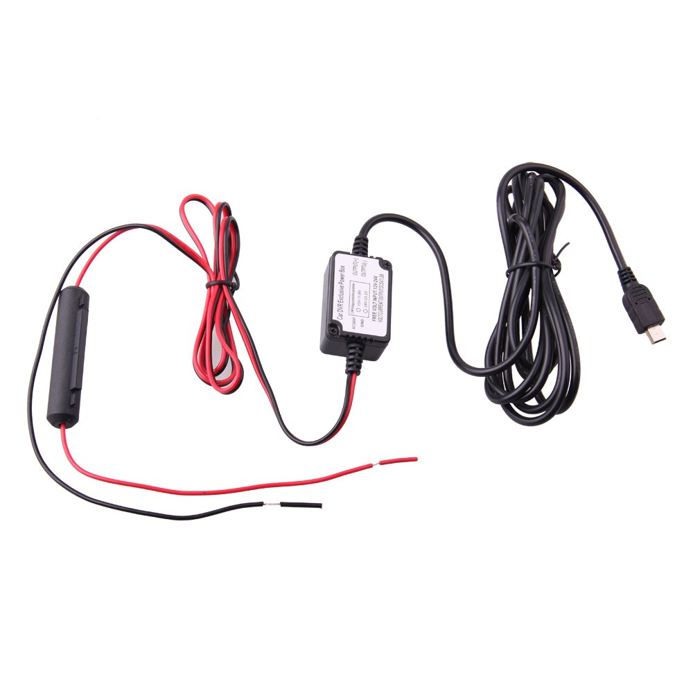 SpyTec Dash Cam Hardwire Kit with Mini USB for Dashboard Camera Power Supply - Low Voltage Protection for Dash Cams