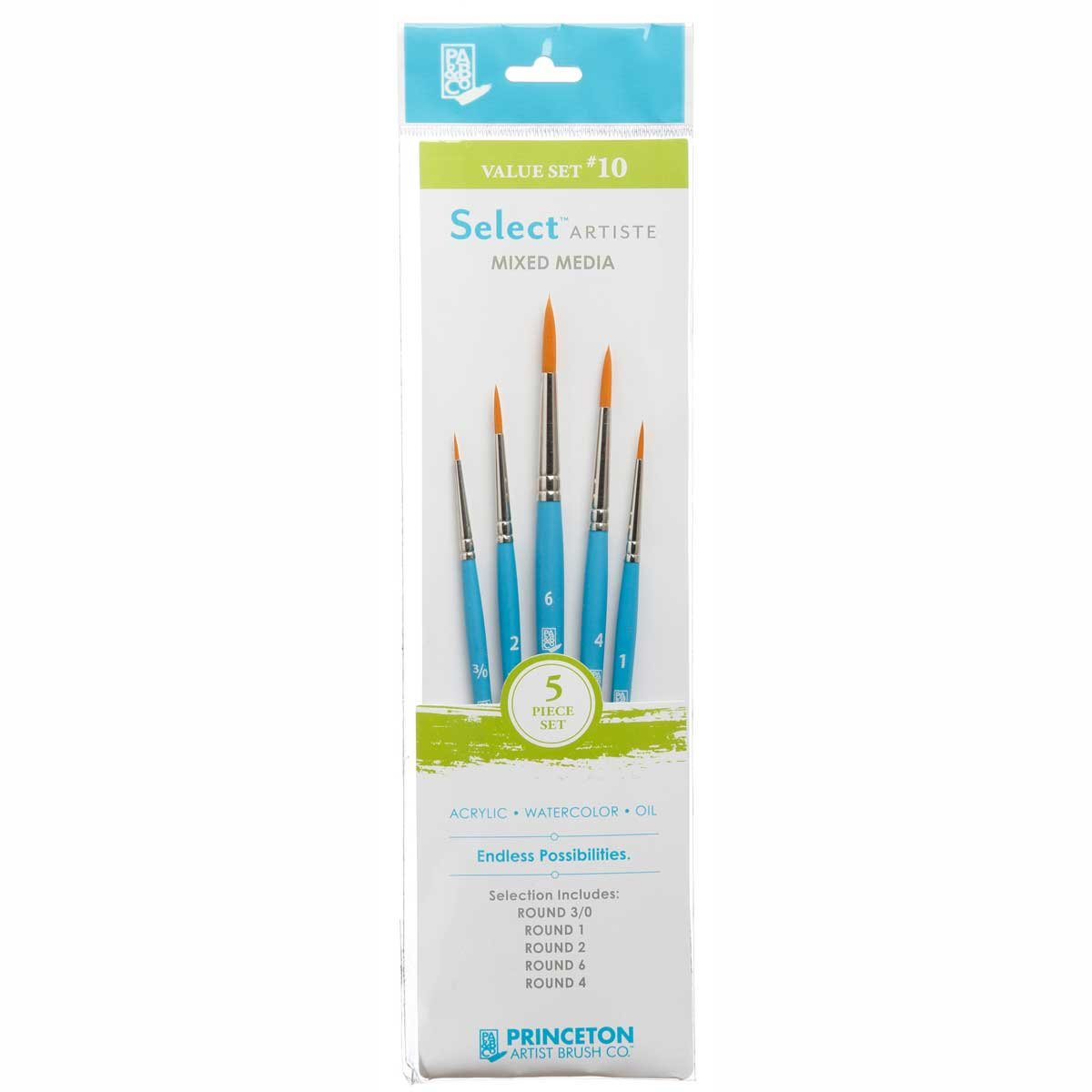 Princeton Select Artiste, Mixed-Media Brushes for Acrylic, Oil, Watercolor Series 3750, 5 Piece Value Set 110
