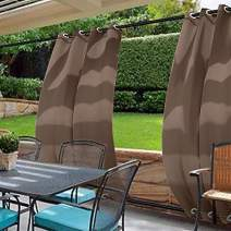 cololeaf Water Repellent Outdoor Decor Panel Grommet at top and Bottom Curtains/Drapes Panels for Patio,Front Porch,Gazebo, Pergola, Cabana, Dock, Beach Home,Chocolate 100W x 120L Inch (1 Panel)