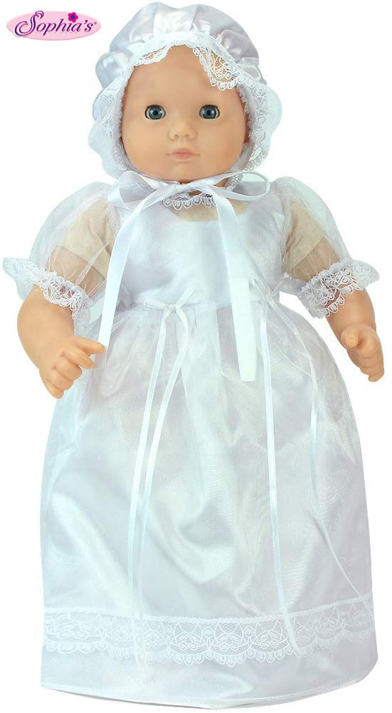 Sophia's 15 Inch Baby Doll Dress, Perfect for Christening, Baptism, Communion Set, Fits 15 Inch American Girl Bitty Baby Dolls Detailed and Beautiful Baby Doll White Celebration Dress and Bonnet