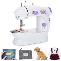 Mini Portable Sewing Machine Small Electric Crafting Mending Machine 2-Speed Double Thread with Foot Pedal for Household Kids Beginner