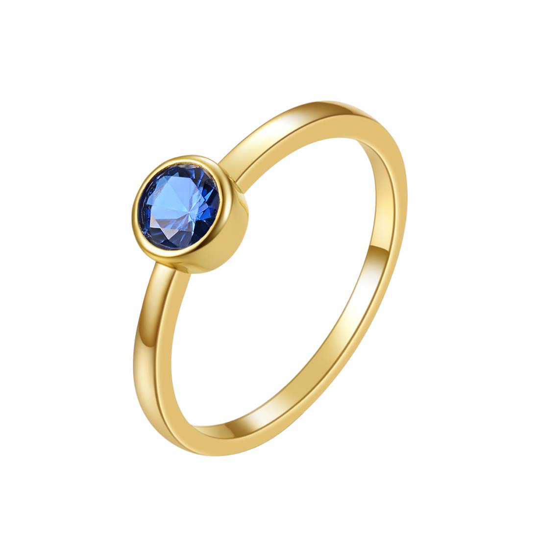 E 18K Gold Plated Stackable Bands Ring for Women, Eternity Ring with Shell Pearl, Cubic Zirconia, Colorful Birthstone