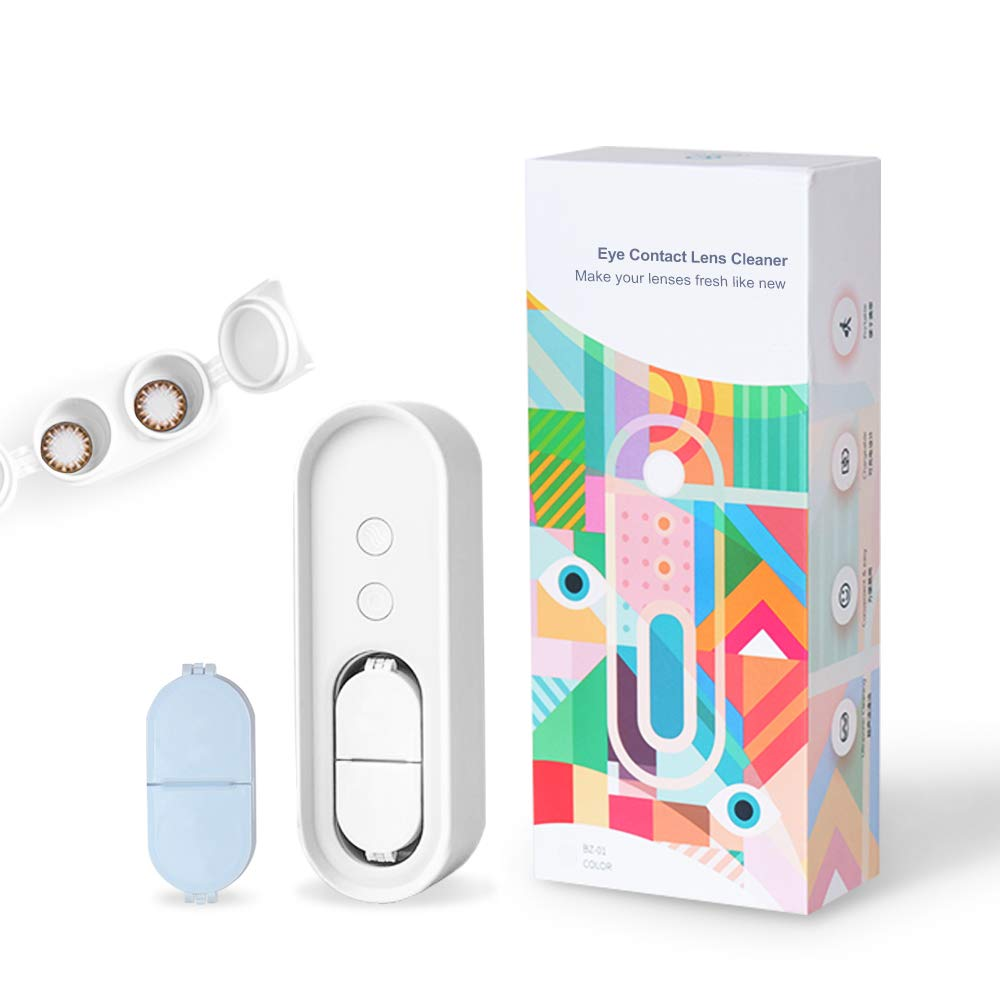 CONBOLA Ultrasonic Contact Lens Cleaner,Colored Contact Lenses Case,USB Rechargeable,Portable for Business/Travel.(White)