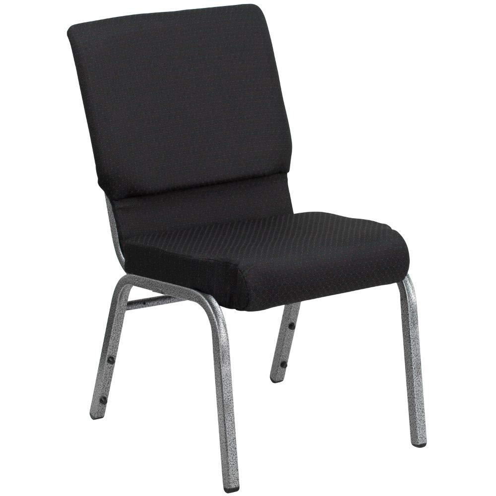 Flash Furniture HERCULES Series 18.5''W Stacking Church Chair in Black Patterned Fabric - Silver Vein Frame