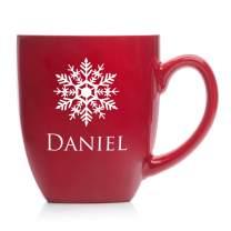 Engraved Personalized Christmas Mug (Red) - Engraved Christmas Coffee Mug with Snowflake and Name, Large Custom Christmas Mug, 2019 Christmas Mug