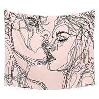 """QCWN Youth Vigor Abstract Sketch Art Kiss Lovers Tapestry, Man Kiss Woman on Pink Backdrop Soulful Abstract Sketch Art Wall Hanging Tapestry for Bedroom Living Room Dorm (78"""" L59 W, Black Pink)"""