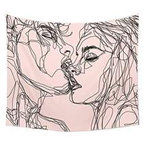 "QCWN Youth Vigor Abstract Sketch Art Kiss Lovers Tapestry, Man Kiss Woman on Pink Backdrop Soulful Abstract Sketch Art Wall Hanging Tapestry for Bedroom Living Room Dorm (78"" L59 W, Black Pink)"