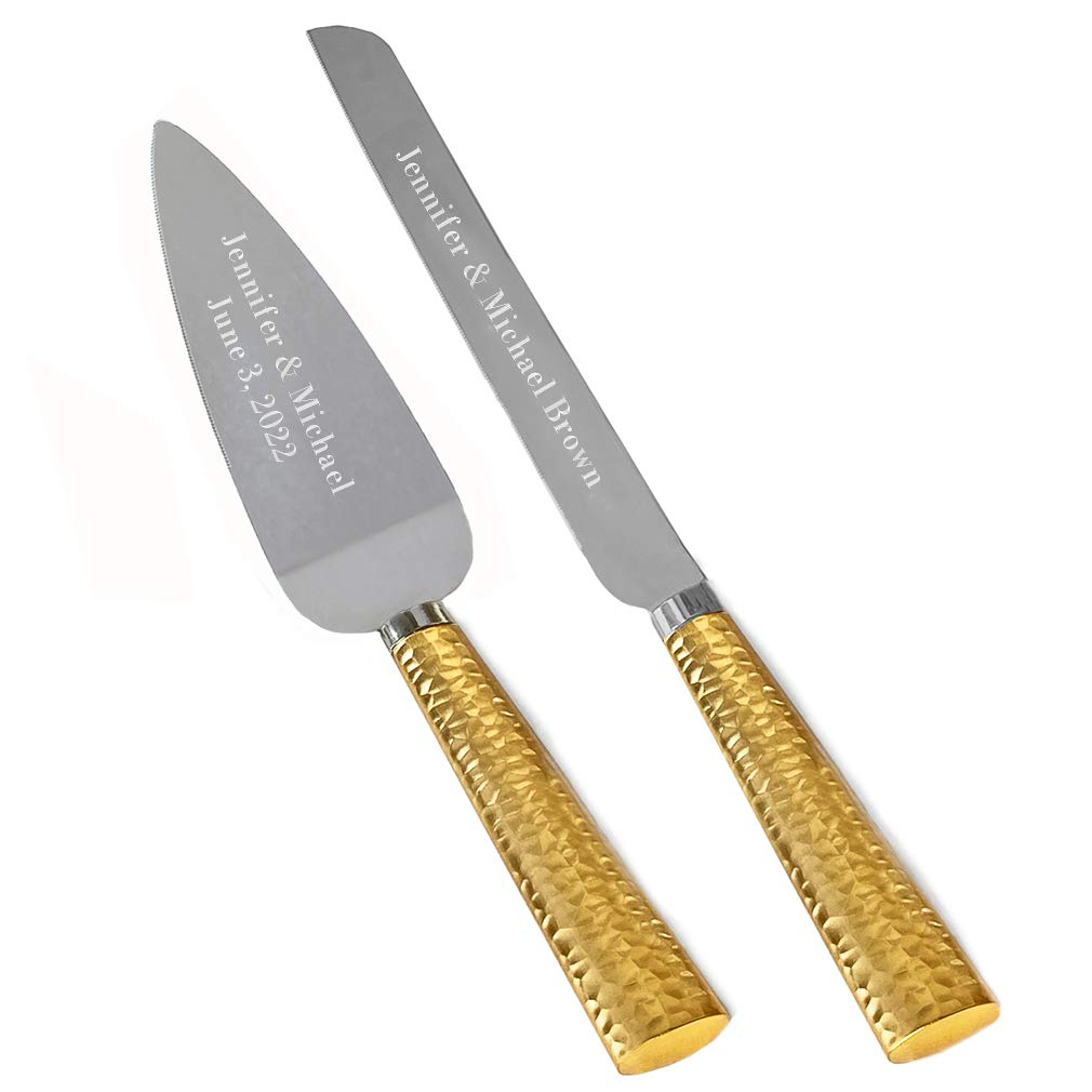 Personalized Engraved Customized Wedding Cake and Knife Server Set, Hammered Metal Cake Cutter with Knife, Gold