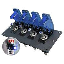 MGI SpeedWare 4 LED Toggle Switch Panel 12vDC, Steel with Powder Coat Black, Safety Covers (Blue)