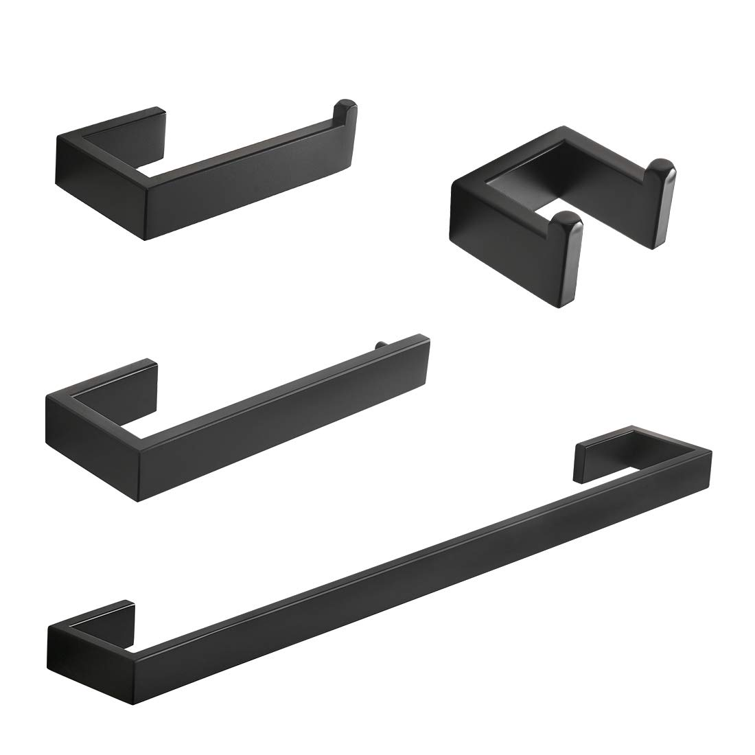 """Fapully 4-Piece Bathroom Hardware Accessory Set with 24"""" Towel Bar Towel Ring Paper Holder Robe Hook Matte Black"""