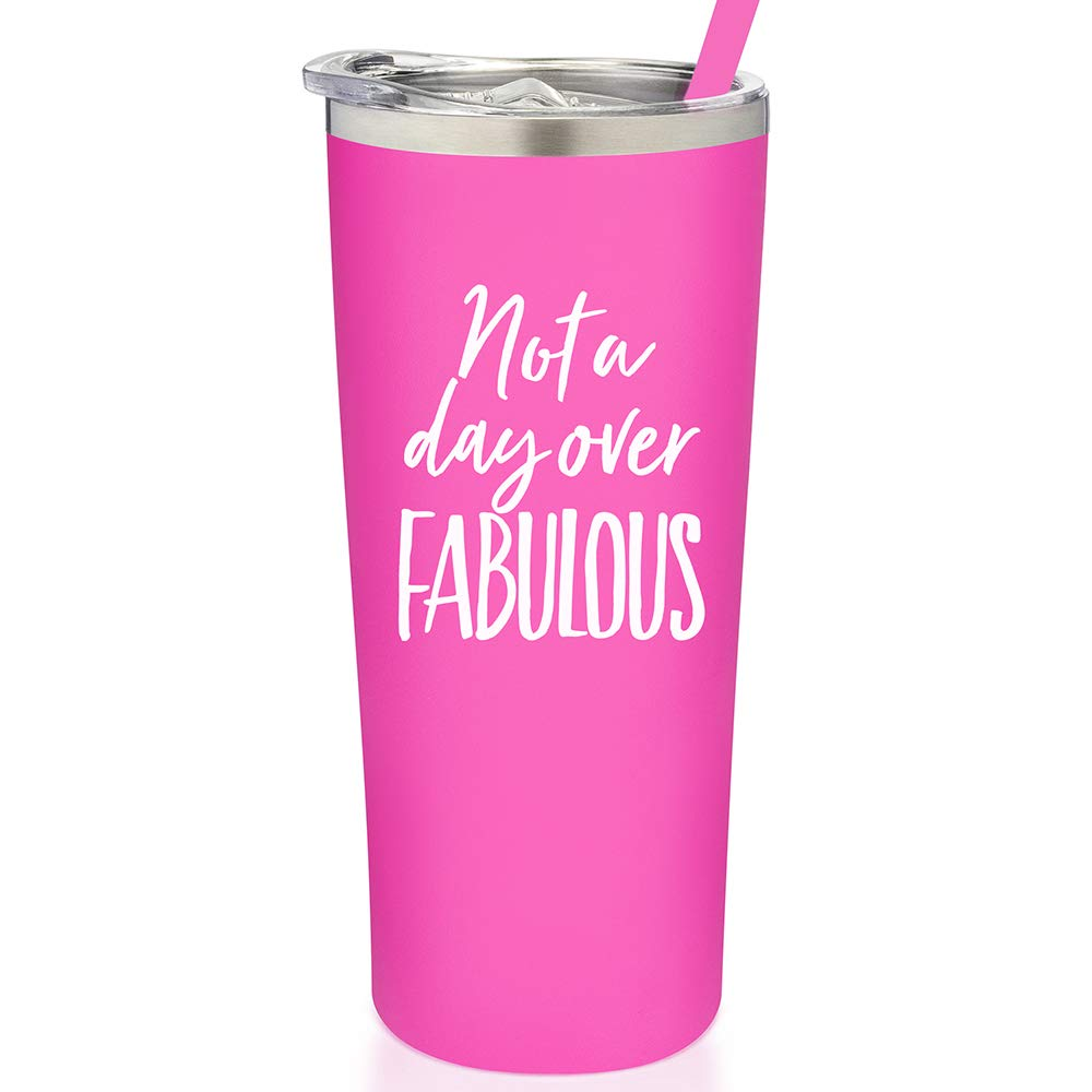 SassyCups Not a Day Over Fabulous Tumbler | Vacuum Insulated Stainless Steel Birthday Mug with Straw For Her | Coffee Travel Mug | Cold Drink Tumbler | Water Bottle For Women (22 Ounce, Pink)