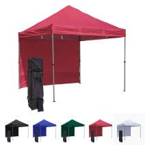 Vispronet 10x10 Pop Up Canopy Tent and Side Wall – Compact Edition – Durable Aluminum Tent Frame, Water-Resistant Canopy and Sidewall, Premium Stake Kit and Heavy-Duty Wheeled Storage Bag (Red)