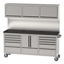 """OEMTOOLS 24615 72"""" 11 Drawer Cabinet and Upper Cabinet   Organize Your Tools for Easy Access in 11 Drawers and 2 Cabinets   Work Surface   Pegboard   Mechanics' Tool Chest With Wheels"""