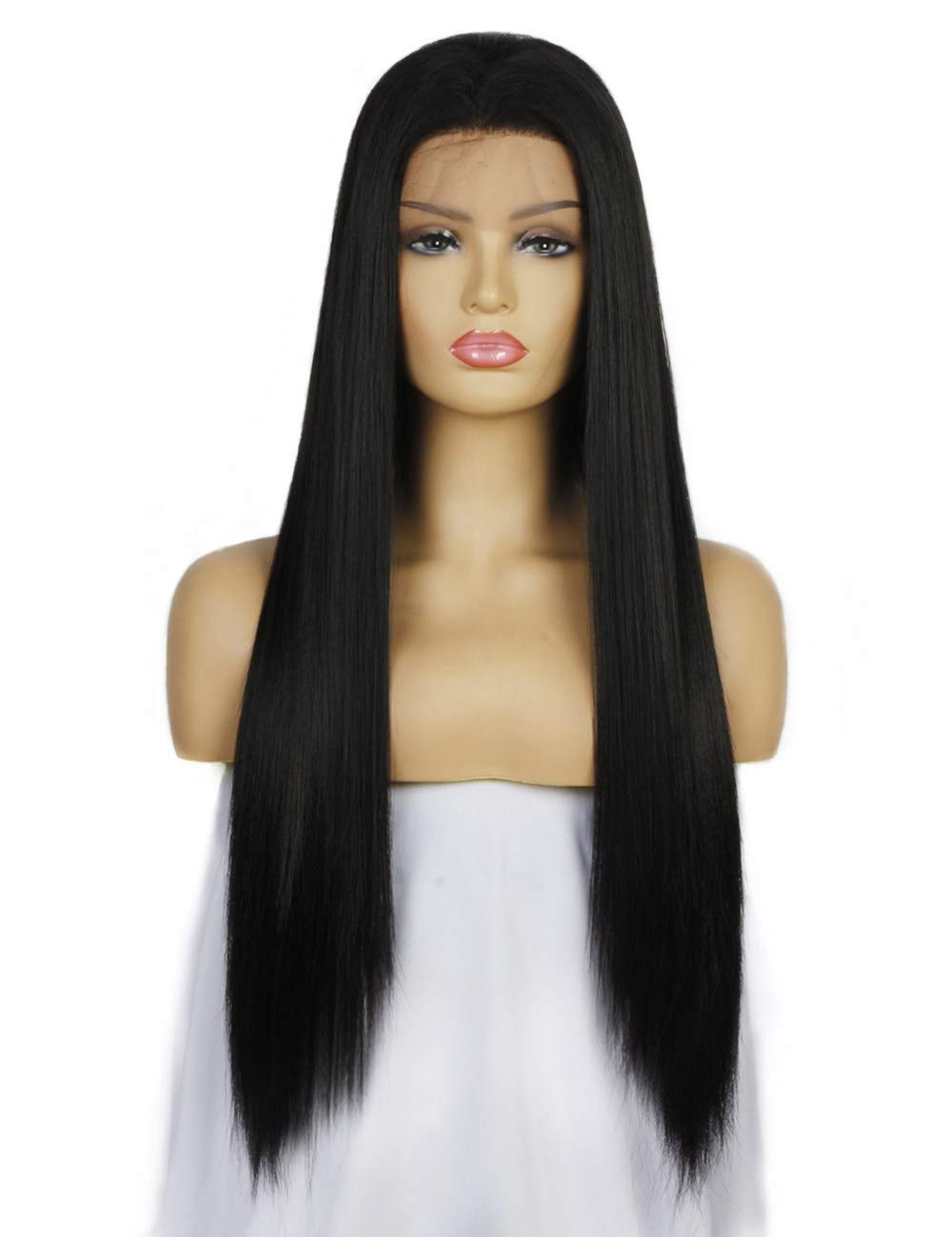 30% HUMAN Hair+70% KANEKALON Heat Resistan Fibers,Light Yaki Straight Wigs for Women,22 Inchs Nature Black Lace Front Wig,Life Diaries Synthetic Wig,Pre Plucked Natural Hairline with Baby Hair