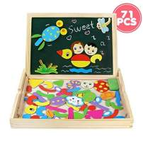 Fajiabao Toddler Easel Educational Toys Wooden Double Side Magnetic Drawing Board Jigsaw Puzzles Montessori Dry Erase Writing Black&Whiteboard Game Gift Indoor Family Games for Baby Boys Girls