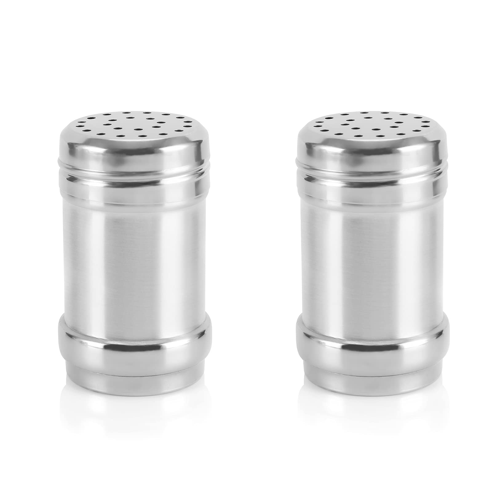 Accmor 2pcs Stainless Steel Salt and Pepper Shaker, Seasoning Containers, Stainless Steel Dredge Salt/Sugar/Spice/Pepper Shaker