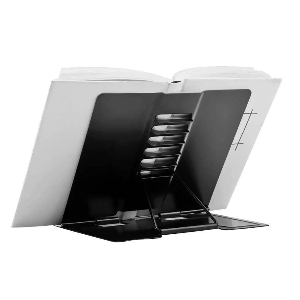 GeLive Metal Book Holder, Eye Protection Reading Stand, Adjustable Recipe Stand, Foldable Cookbook Rest, Tablet iPad Calendar Catalog Recipe Holder, Reading Hands Free (Black)